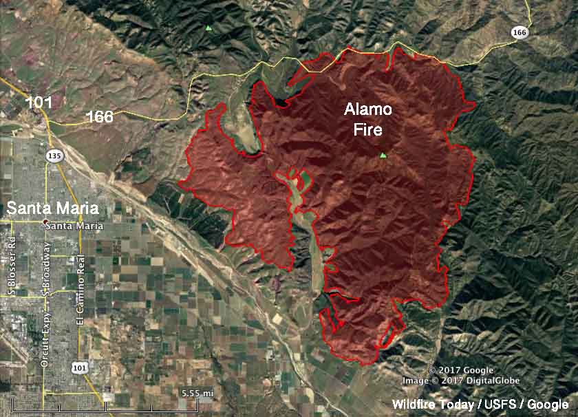 Firefighters make progress on Alamo Fire east of Santa Maria, CA