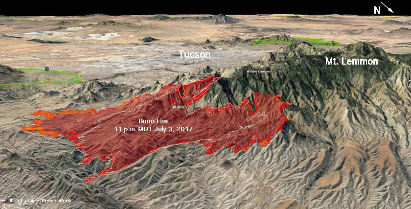 map Burro Fire Tucson Arizona