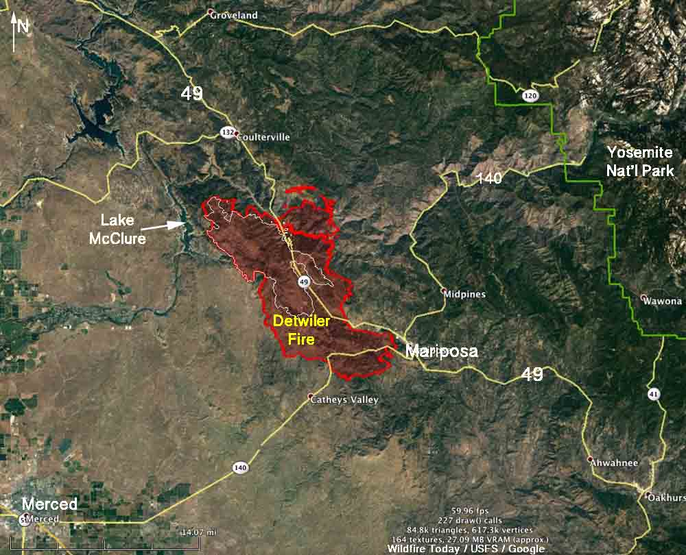 detwiler fire map. detwiler fire doubles in size grows to over  acres