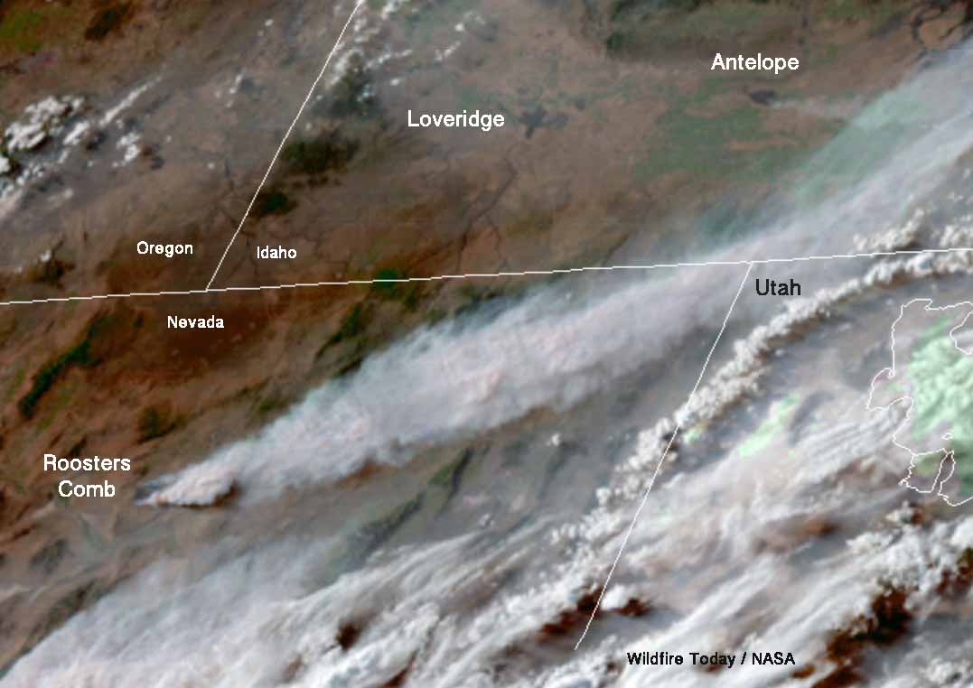 Satellite view of four wildfires in Idaho and Nevada