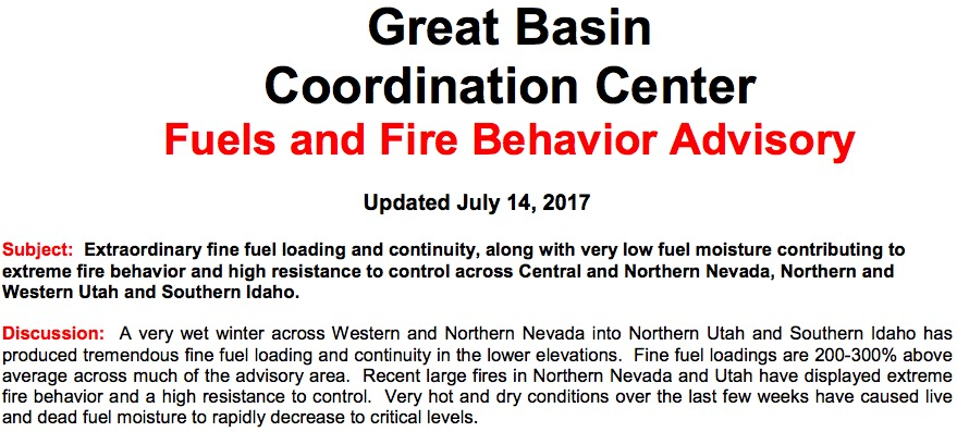 Great basin fuels fire advisory