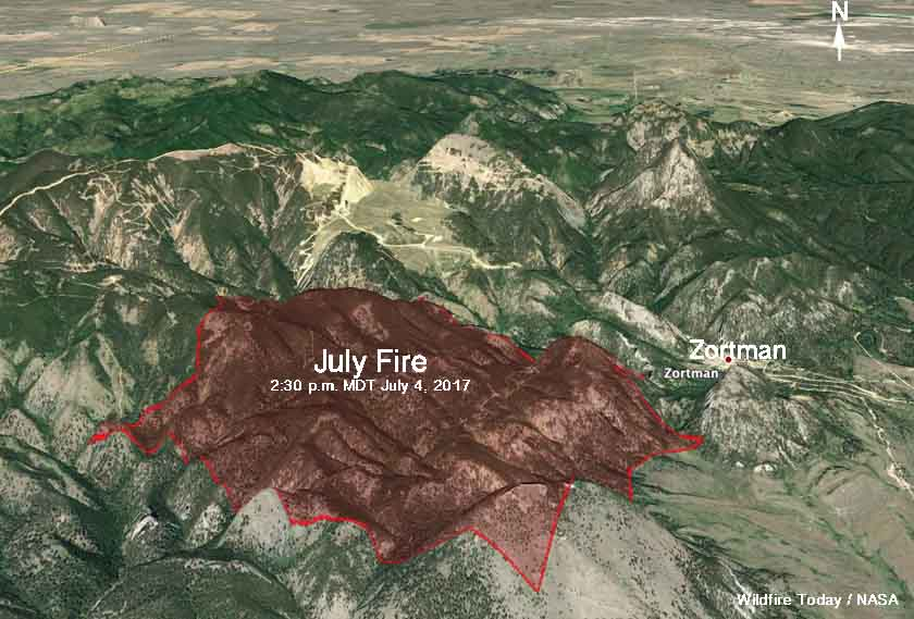 3-D Map July Fire Montana