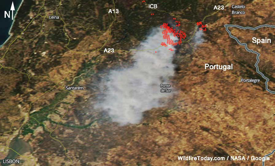 fire in Portugal satellite photo