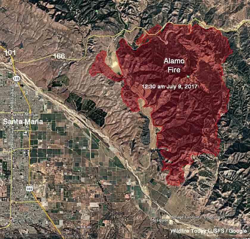 map alamo fire santa maria