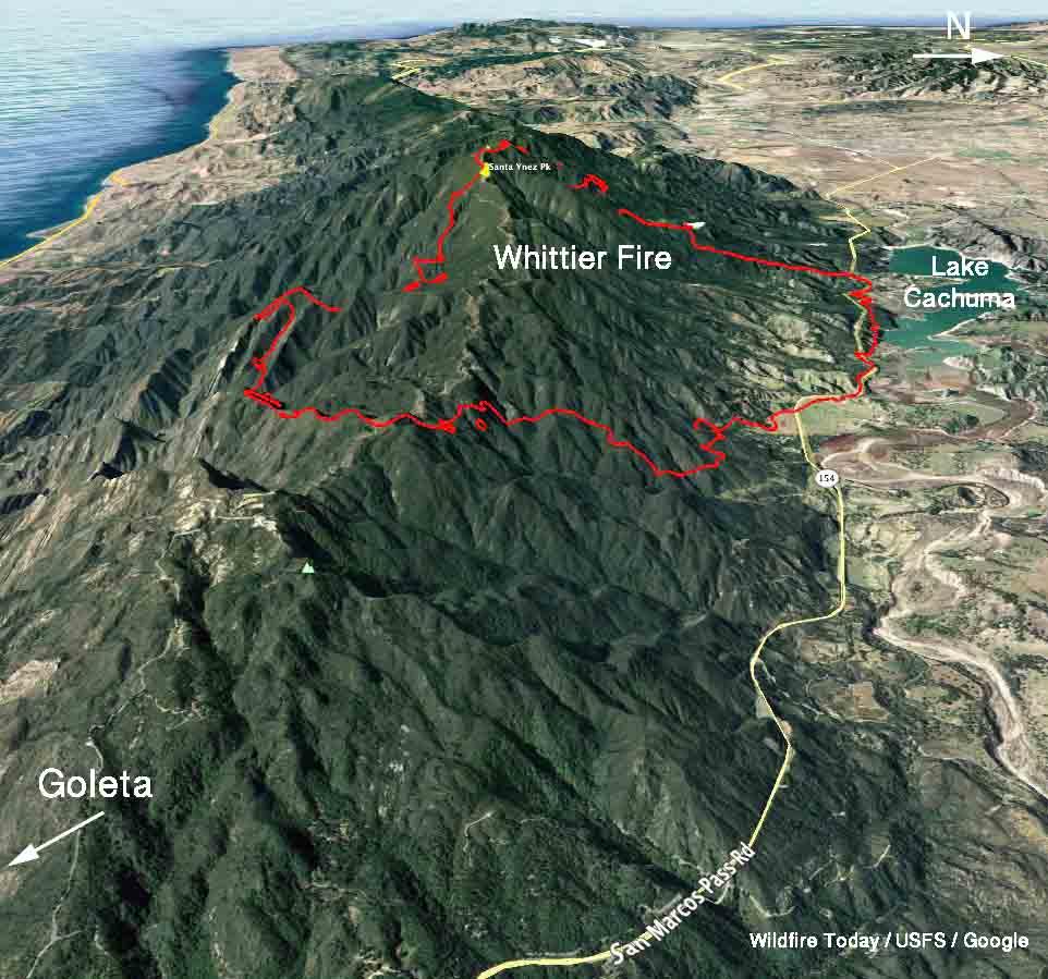 map Whittier Fire 3-D