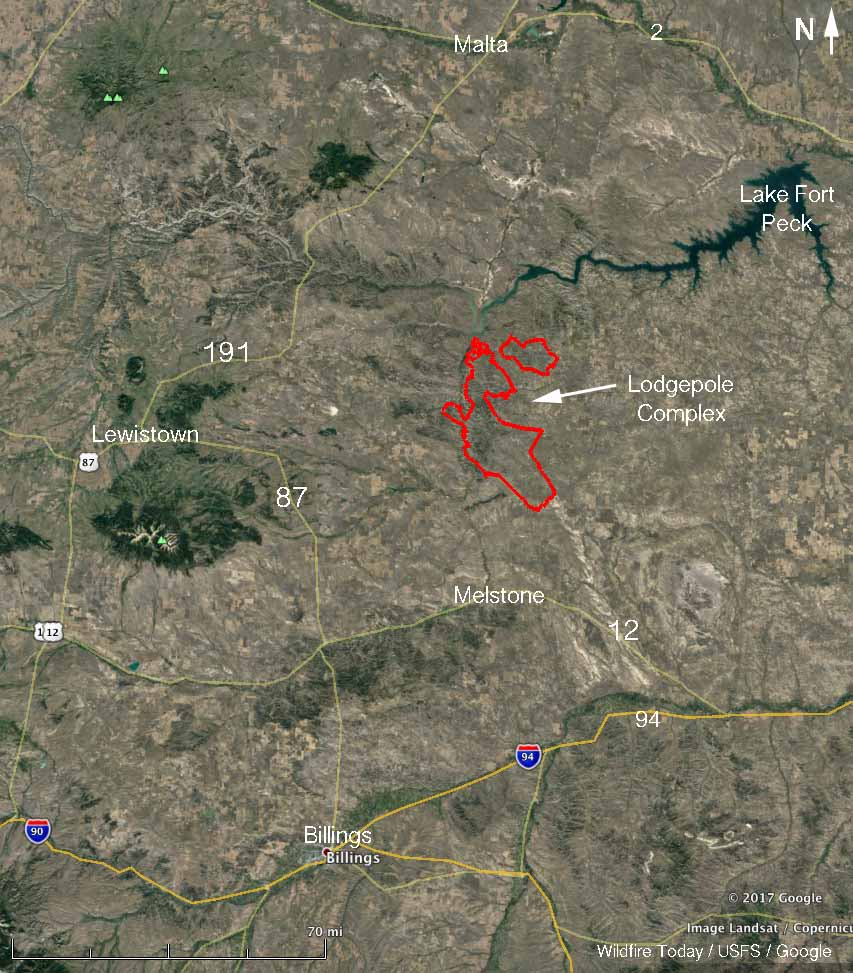 map Lodgepole Complex fires