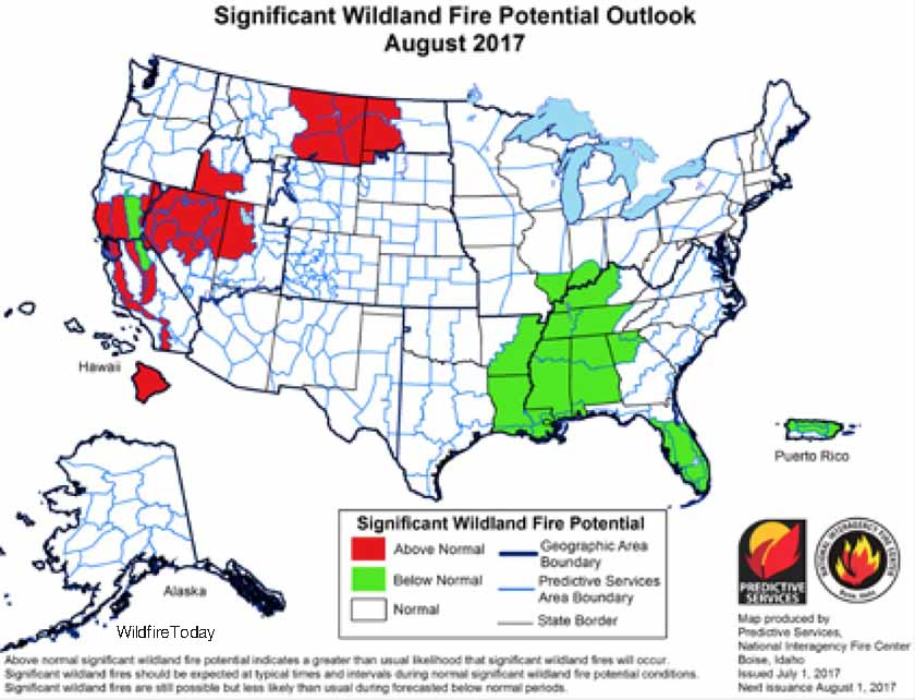 wildfire potential August