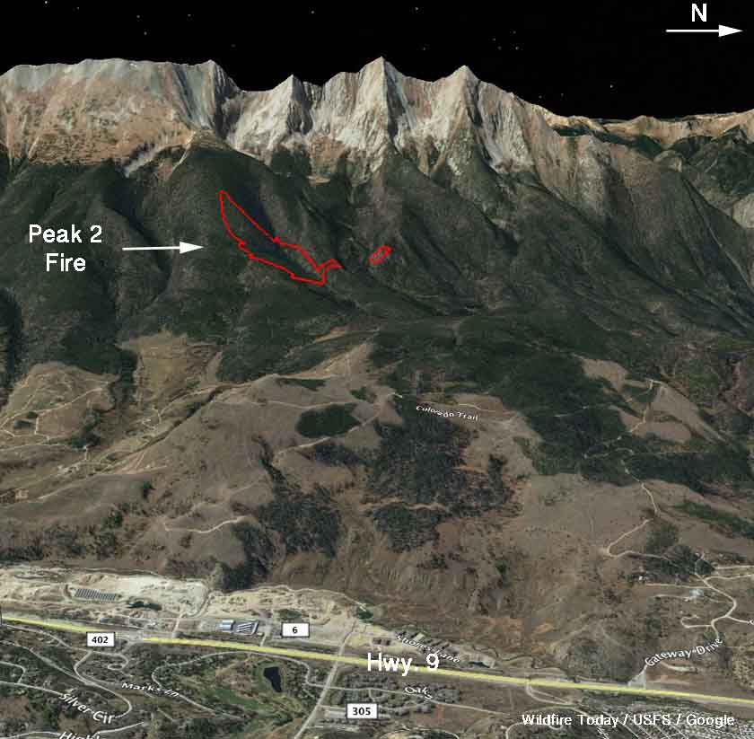 Map of the Peak 2 Fire