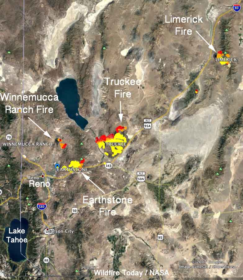 Map four large wildfires Reno Nevada Nevada