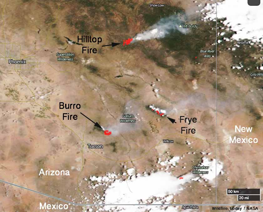 Three large wildfires in Southeast Arizona continue to spread