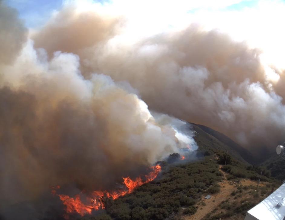 Whittier Fire as seen at Santa Ynez Peak