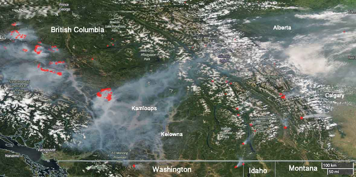 map wildfires in British Columbia and Albert