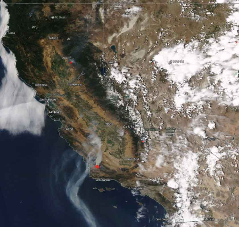 wildfire smoke satellite photo