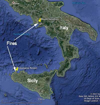 map fires Mount Vesuvius Sicily