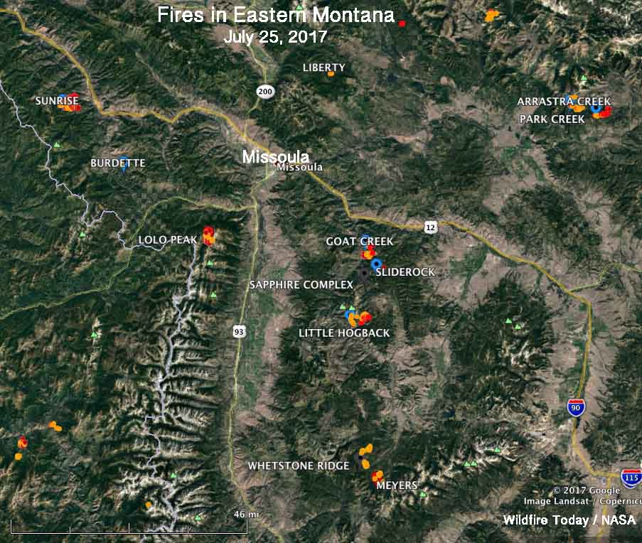 a dozen large wildfires within 70 miles of missoula