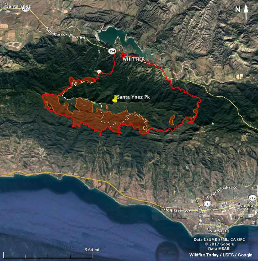 map whittier fire