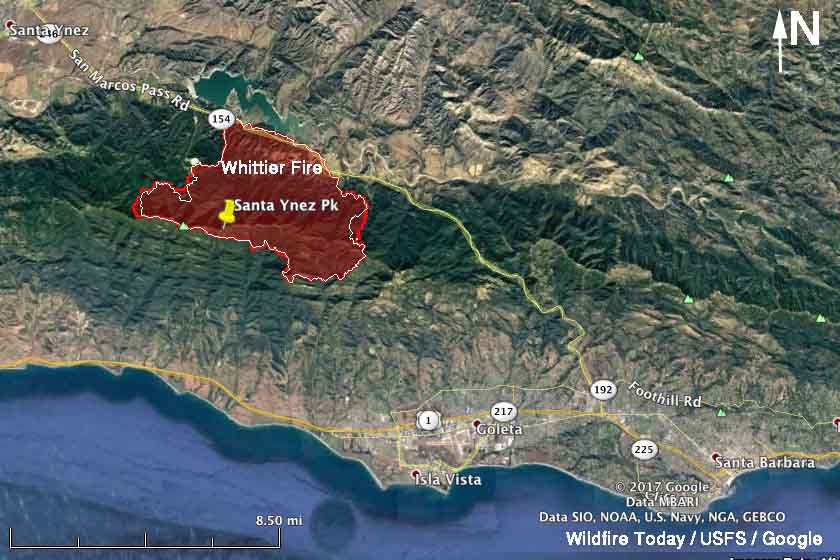 Whittier fire map
