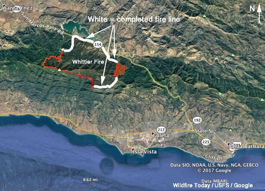 map Whittier Fire