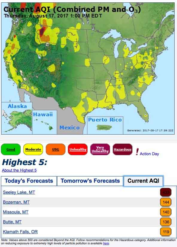 Heavy wildfire smoke in some areas of California Oregon and