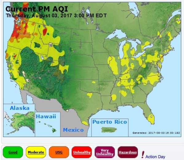 Wildfire Smoke Produces Unhealthy Conditions In Some Areas Of - Us wildfire map