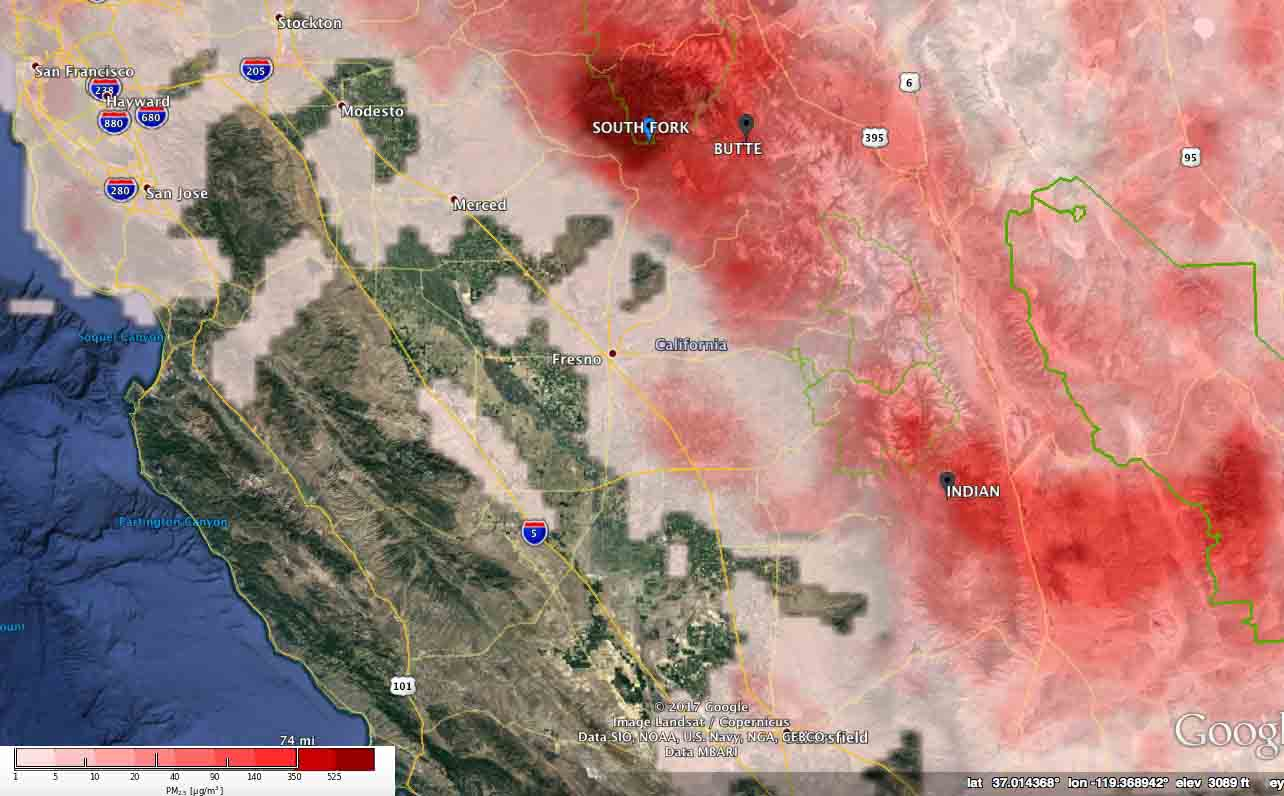 pm25 air quality california wildfire