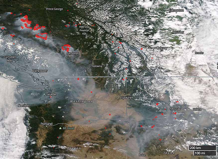 Wildfire smoke produces haze over much of British Columbia and the U.S. Northwest