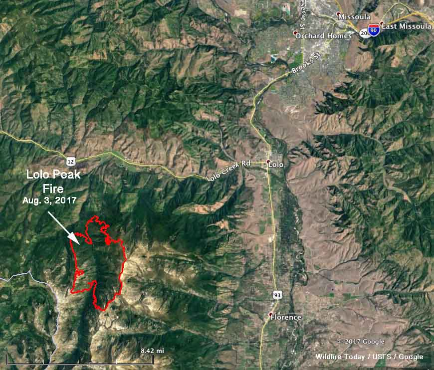 Map of the perimeter Lolo Peak Fire