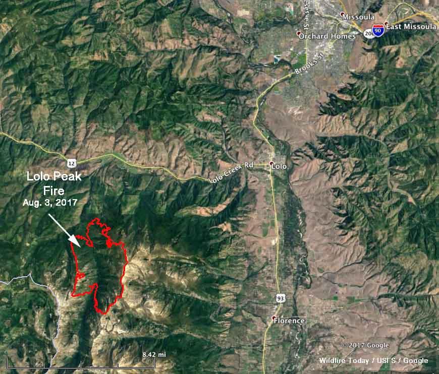 Map of the perimeter Lolo Peak Fire