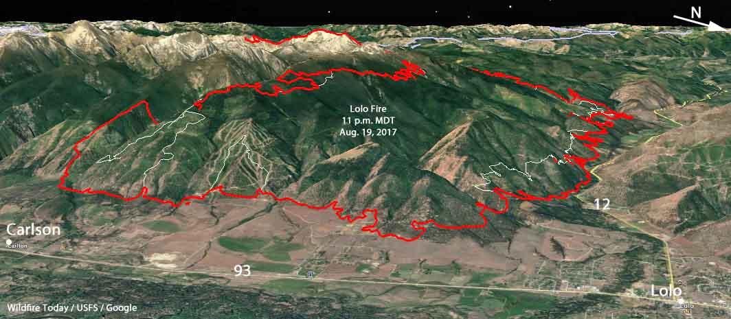Peak Fire Map.Lolo Peak Fire Archives Wildfire Today