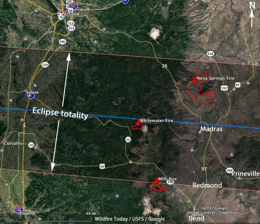 Nena Springs and Whitewater Fires are within Oregon's total eclipse area