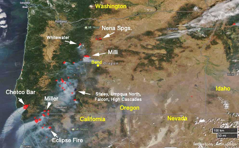 Satellite photo of Oregon wildfires, August 19, 2017
