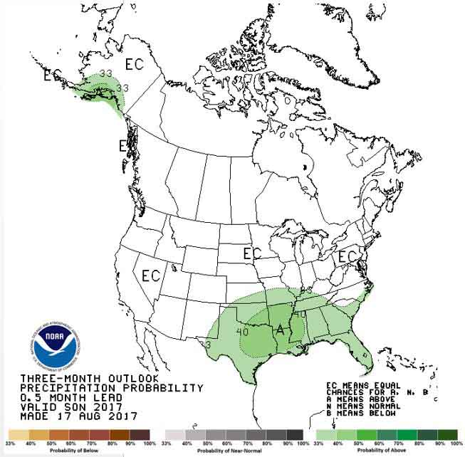 Precipitation outlook, September through November