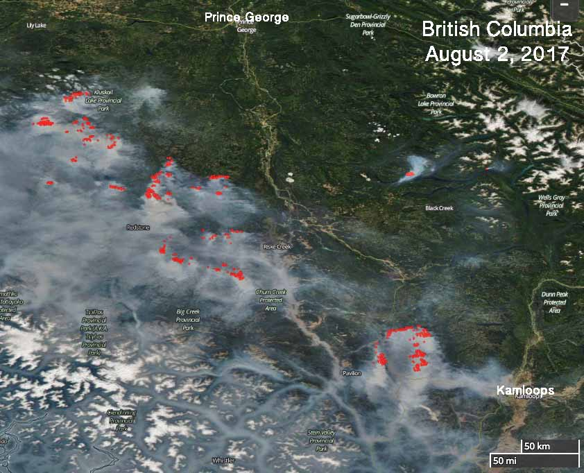 Over 100 active wildfires in British Columbia