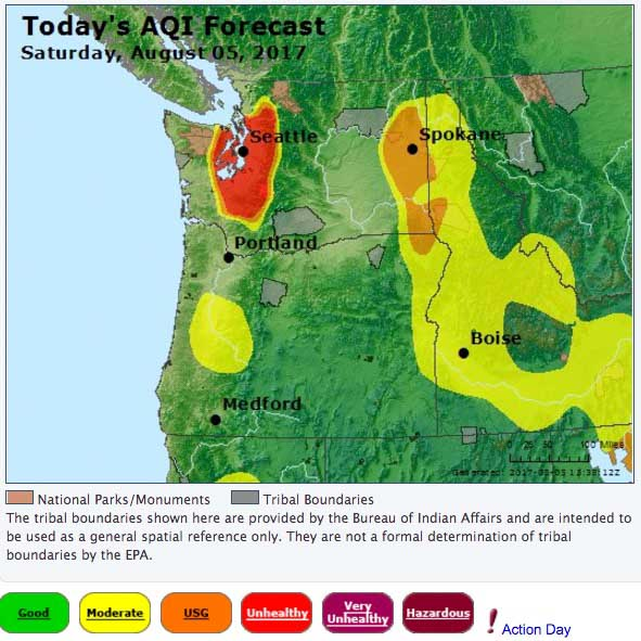 Wildfire Smoke Produces Haze Over Much Of British Columbia And The - 2017 map of air pollution in us