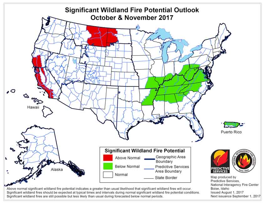 October November wildfire potential