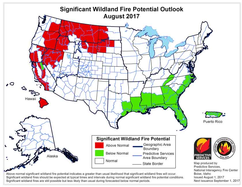 Potential Wildfire Today - Us wildland fire potential map