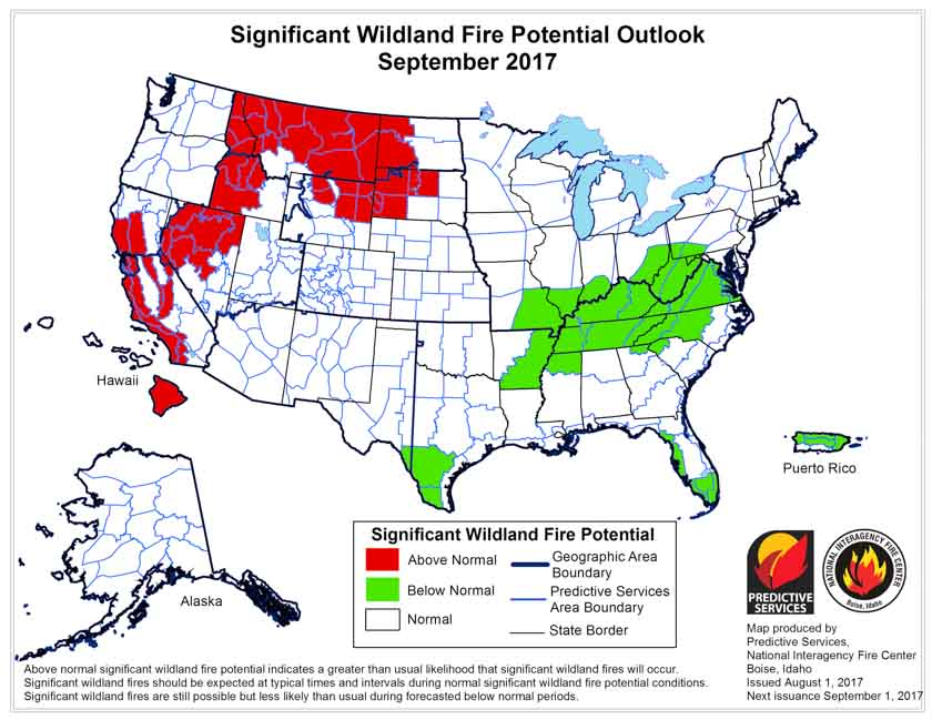 September wildfire potential