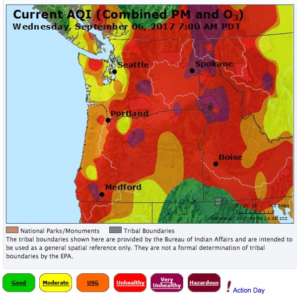 Air Quality Index for the northwestern states