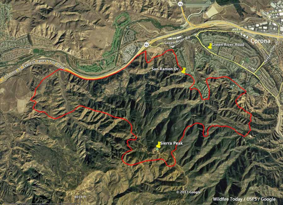 Updated Map Of The Canyon Fire Near Corona California Wildfire