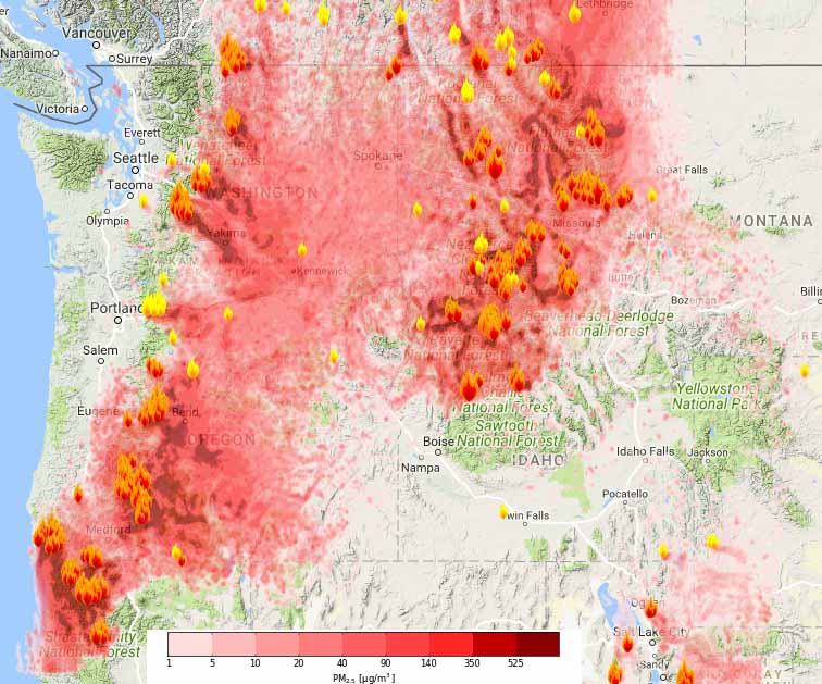 Wildfire Smoke Creates Unhealthy Air In The Northwest US - Northwestern us map
