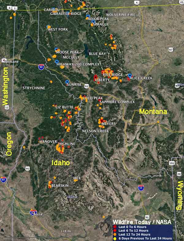 map wildfires idaho montana