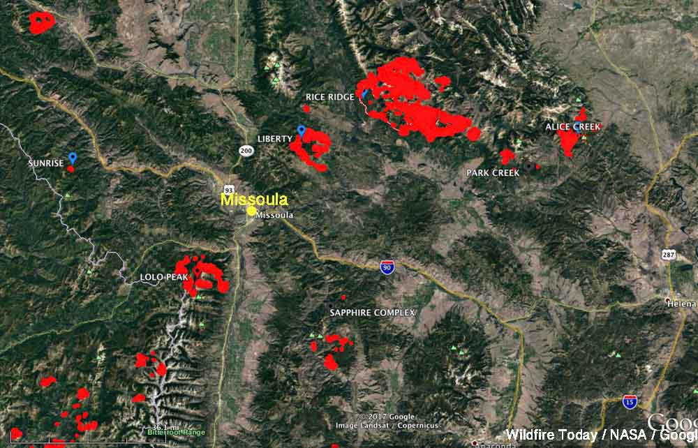 Rice Ridge Fire Montana fire map missoula