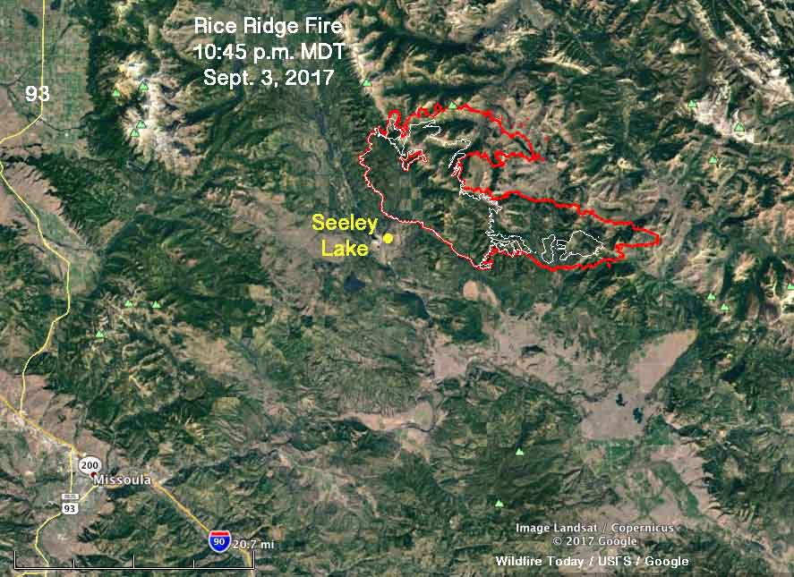 Rice Ridge Fire map