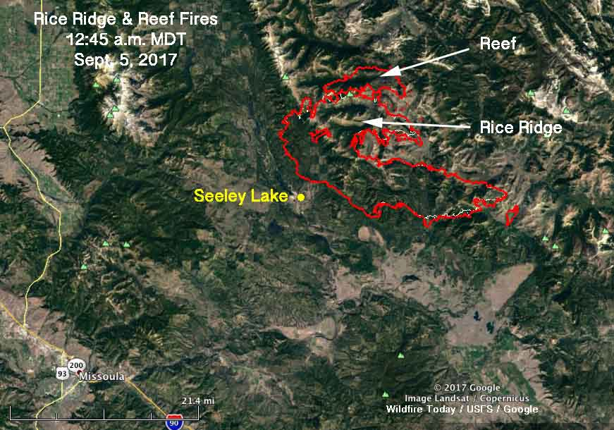 Rice Ridge Fire merges with Reef Fire