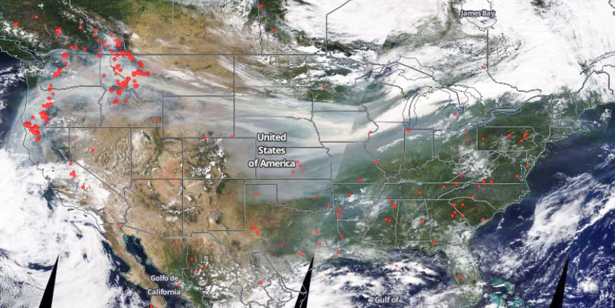 Satellite photo, wildfires and smoke, September 4, 2017