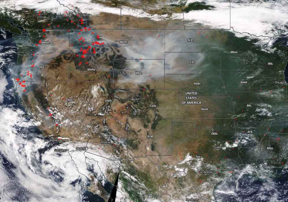 satellite photo smoke fires