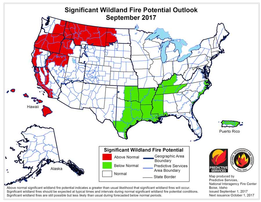 Wildfire potential, September through December