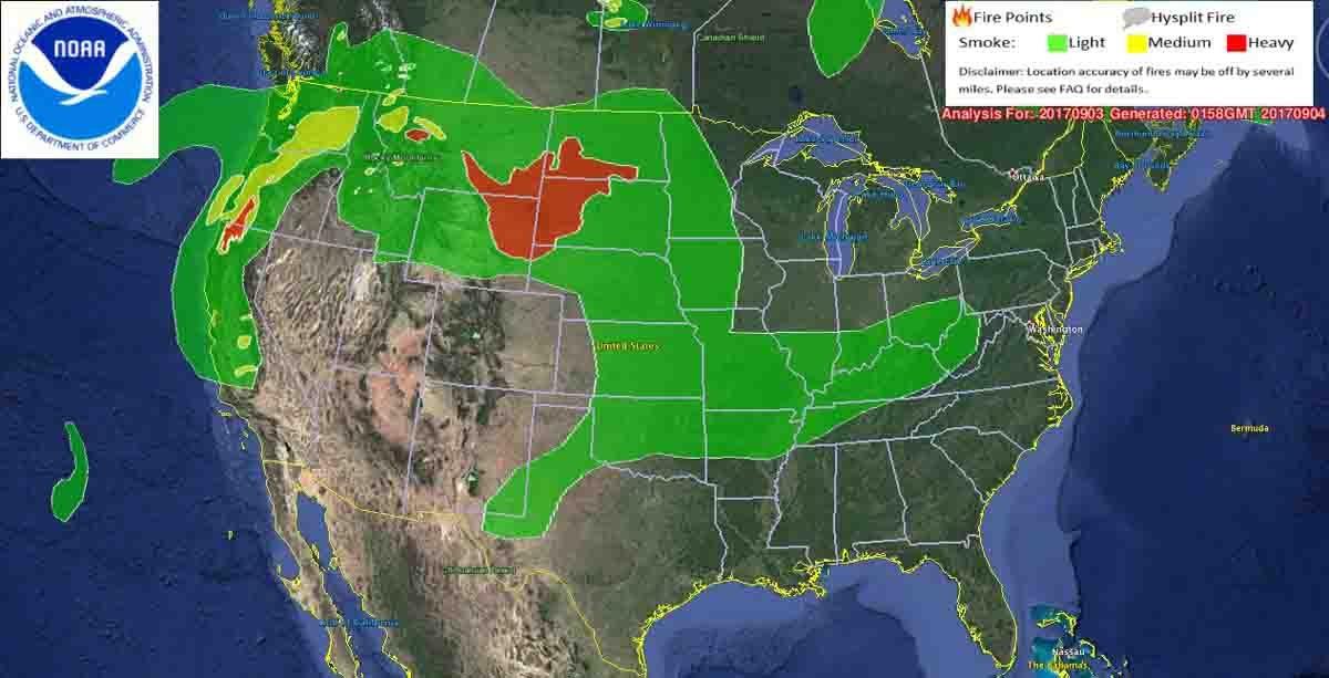 Wildfire smoke affects northwestern and central United States