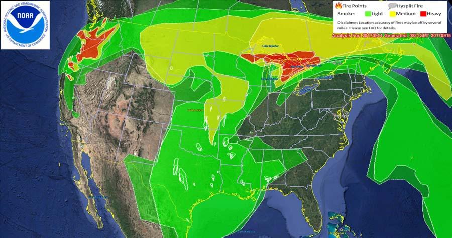 Smoke map, Thursday night