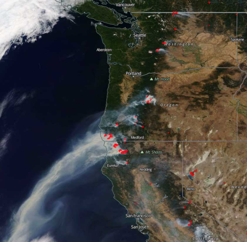 Satellite Po From September 1 2017 Showing Smoke From Wildfires The Red Dots Represent Heat Detected By The Satellite